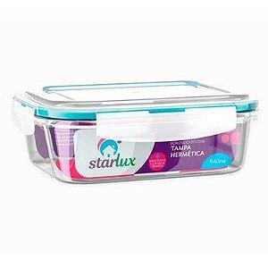 Starlux Ud Pote de Vidro Retangular com Tampa Hermetica 640ML com 1 Unidade