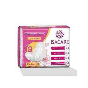Absorvente Isacare Higiênico Com Abas 24 Pacotes Com 8 Unidades