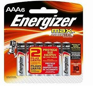Pilha Energizer Max-Sm Palito AAa4 12 Cartelas Com 4+2 Unidades Gratis
