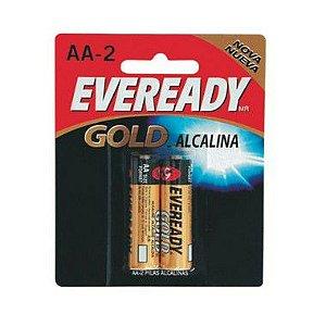 Pilha Eveready Alcalina Gold Pequena AA2 12 Cartelas Com 2 Unidades
