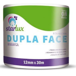 Starlux Dupla Face Papel Liso 12MMX30M Com 8 Unidades