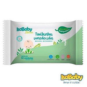 Isababy Toalha Umedecida Nature Biodegradável 12 Pacotes Com 50 Unidades