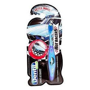Escova Dentil Kids Escola Carros Com Borracha 12 Unidades