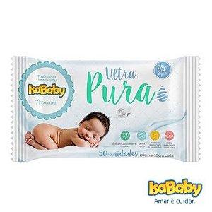 Isababy Toalha Umedecida Ultra Pura C/ Etiqueta Rígida 12 Pacotes Com 50 Unidades