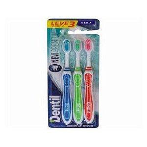 Escova Dentil New Premium Média Leve 3 Pague 2 - 12 Pacotes com 3 Unidades