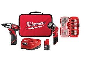Parafusadeira 1/4 12v Kit Lanterna E Bits 2482-259 Milwaukee
