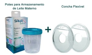 Kit Concha Flexível + Potes para armazenamento de leite materno Sana Babies