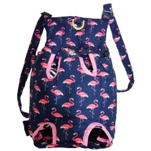 Bolsa para Cachorro Canguru Estampa Flamingo