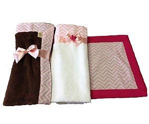 Enxoval para cachorro Pink com Cobertor e Toalha