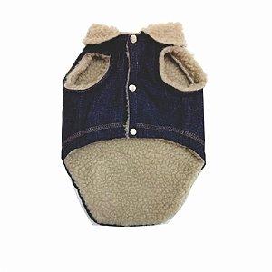 Roupa para cachorro Blusa Jeans com pele carneirinho