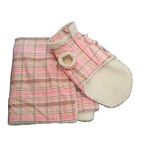 Blusa e Cobertor para Cachorro Estampa Outback Pink