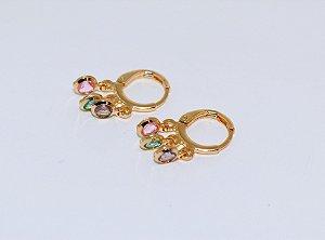 Argola Basic Pingentes Color - Gold