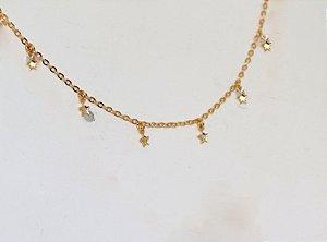 Colar Chocker Estrelas - Gold