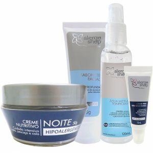 Kit Tratamento Facial Eternity - Água Micelar, Creme para Olhos, Sabonete Facial e Creme Noite - Alergoshop