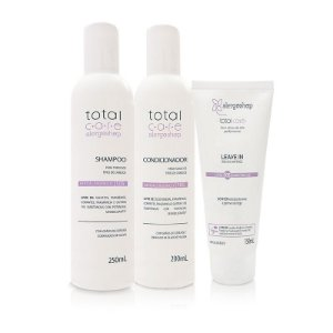 Kit Shampoo + Condicionador + Leave In Hipoalergênico Total Care Alergoshop