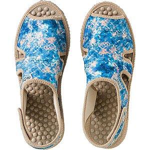 Sandália Massageadora Mundoflex para Esporão Azul Floral Ref 1002