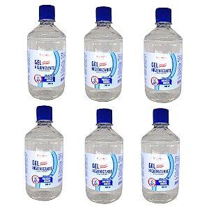 Álcool em Gel 500ml 70% Rhenuks Kit com 6