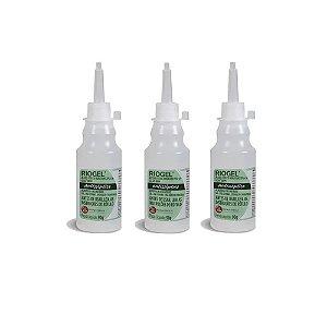 Álcool Gel Antisséptico 70% Riogel 90g Kit c/ 3