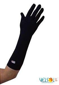 Luva de Proteção Solar Velsol Média Cor Preta Dedos Fechados