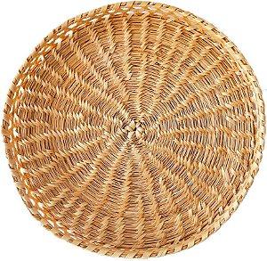 Bandeja redonda de fibra natural