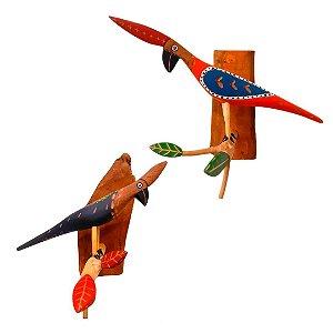 Pássaro de madeira para mesa e parede