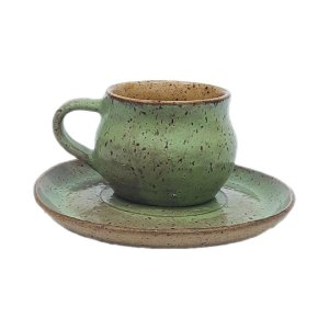 Xícara com alça e pires verde pântano - 110 ml