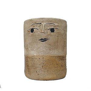 Vaso cilíndrico grande em cerâmica
