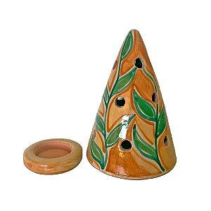Luminária Folhas  em cerâmica vitrificada