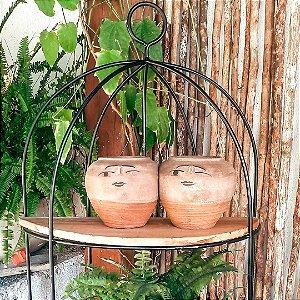 Vaso Duplo grande em cerâmica vitrificada