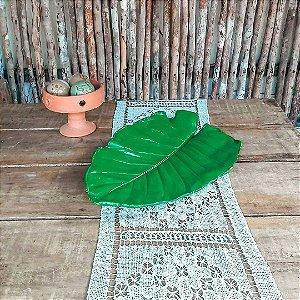 Centro de mesa folha verde em cimento