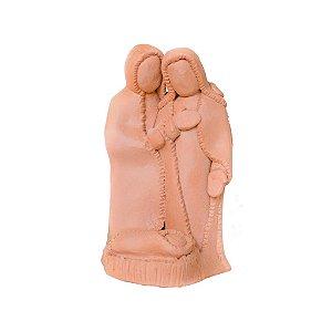 Escultura de Sagrada Família média em cerâmica vitrificada
