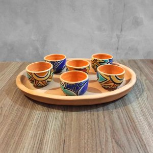 Conjunto travessa oval terracota com seis copinhos em cerâmica vitrificada