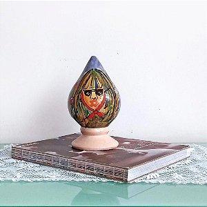 Pinha Caboclo de lança em cerâmica vitrificada