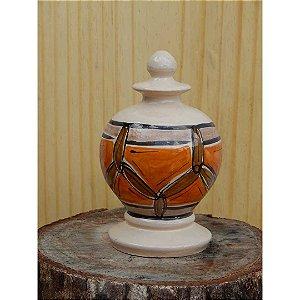 Pinha Laranja em cerâmica vitrificada