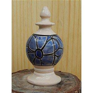 Pinha Flor azul em cerâmica vitrificada