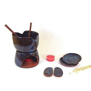 Kit fondue em cerâmica vitrifica diversas cores