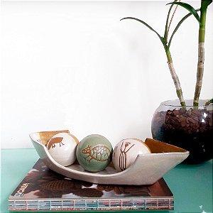 Conjunto barca com bolas capivara em cerâmica