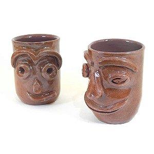 Conjunto com 02 copos exclusivos em cerâmica vitrificada