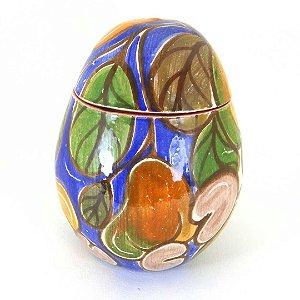 Ovo decorativo cajus em ceramica vitrificada