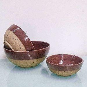 Conjunto com 03 cumbucas para servir em cerâmica vitrificada
