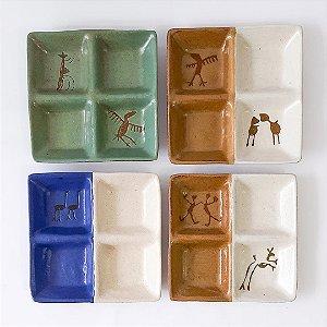 Petisqueira quadrada em cerâmica vitrificada