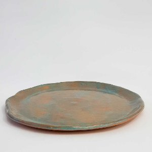 Prato grande azulado cerâmica vitrificada