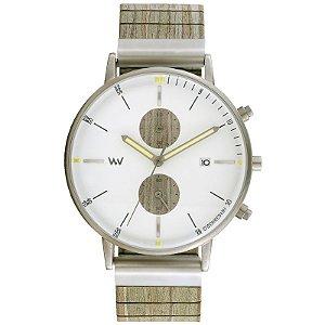 Relógio de Madeira WeWOOD Albacore Chrono Silver White Army