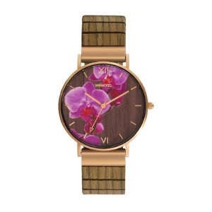 Relógio de Madeira WeWood Aurora Flower Nut