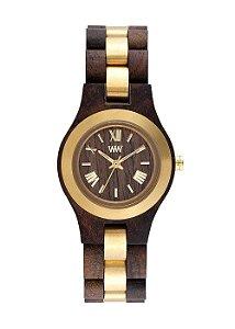 Relógio de Madeira WeWOOD Criss ME Choco Rough Gold