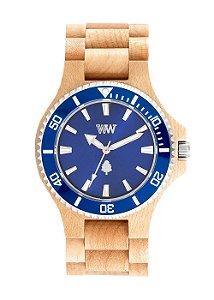 Relógio de Madeira WeWOOD Date MB Beige Blue