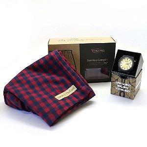 Kit Namorados: Relógio de Madeira WeWOOD Arrow Black/Gold + Samba Canção Viking Xadrez Vermelho Classic