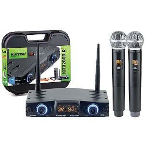 Microfone sem fio Karsect KRD200DR duplo de mão recarregável
