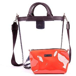 Bolsa Transparente Kesttou Vermelho BK036
