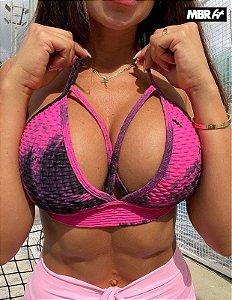 Top brocado Tie Dye rosa com preto